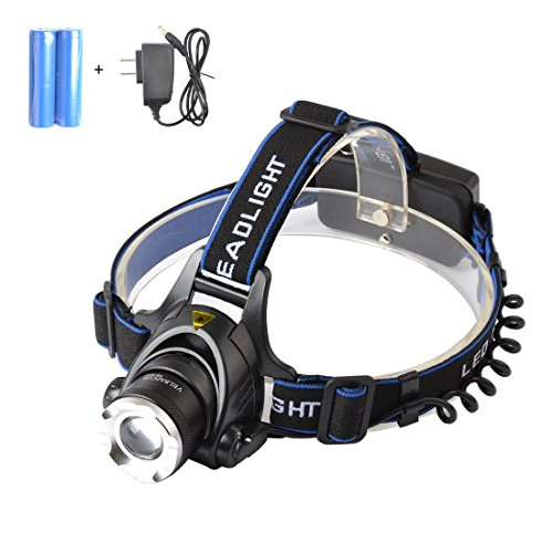 VELRAPCOR Brightest LED Headlamp Headlight 3 Modes 2000 Lumens CREE XM-L T6 Waterproof Zoomable Rechargeable 18650 Batteries AC Charger