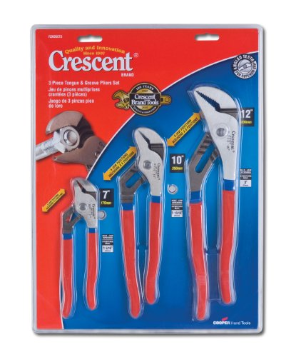 Crescent R200SET3 3 Piece 7-Inch 10-Inch and 12-Inch Tongue and Groove Plier Set