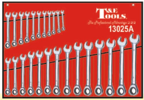 T E Tools 25 Pc Metric Tiger Tooth Ratchet Wrench Set