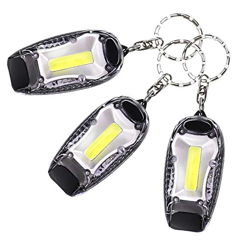 3 Packs LED Keychain Flashlight Mini Camping Key Ring Pocket Torch Bright White Light with 5 Lighting Modes Black