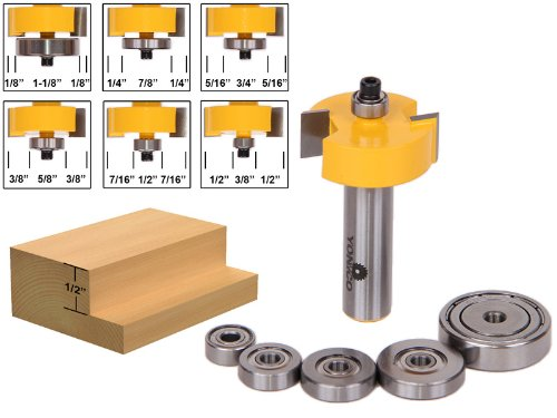 Yonico 14705 12-Inch Height with 6 Bearings Rabbet Router Bit Bearing Set 12-Inch Shank
