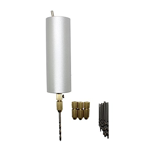 AUTOTOOLHOME DIY Electric Aluminum Hand Drill DC 12V Motor for PCB Wood Craft Drilling Tools With 4pc Brass Drill Collet Chuck and 10pc Twist Bits