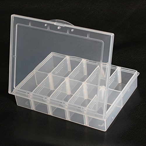 10 Compartments Storage Plastic Adjustable Electronics Tool Box Case