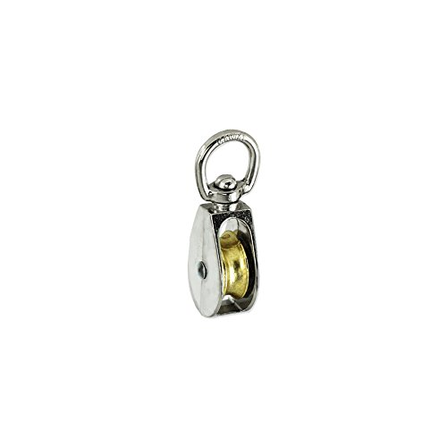 Premium Rope Pulley with Solid Brass Sheave - 34-inch Swivel-eye