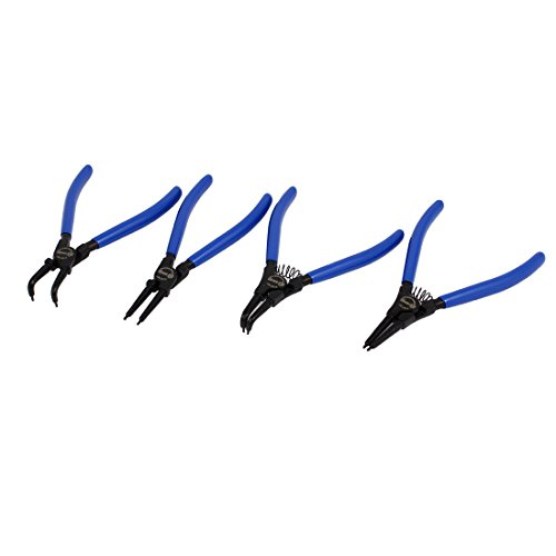 uxcell BOOHER Authorized 7 Internal External Straight Bent Snap Ring Circlip Pliers Set 4 in 1
