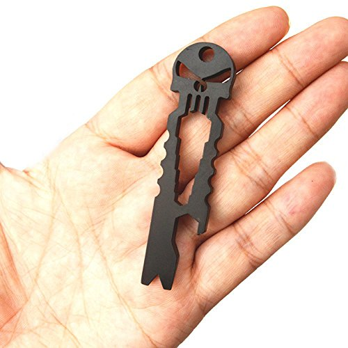 SUPOWTM1PCs Tactical EDC Stainless Steel Titanium Skeleton Key StickMulti-functional Hand Tools self-defense EquipmentScrewdriver Crowbar Wrench Opener CrowbarMulti-functional Pocket Survival ToolSkull Keychain Self-defense Forces Emergency Survival