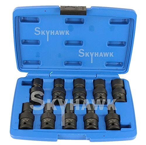 10-pc Metric 12-dr UNIVERSAL SWIVEL SHALLOW IMPACT SOCKET SET D70224
