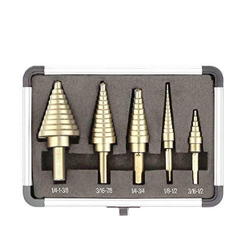 Step Drill Bit Set PANGOLIN High Speed Steel HSS 5-Piece Step Drill Set 50 Sizes Standard Drill Holes with X-type Openings Design and Package with Sturdy Aluminum Case