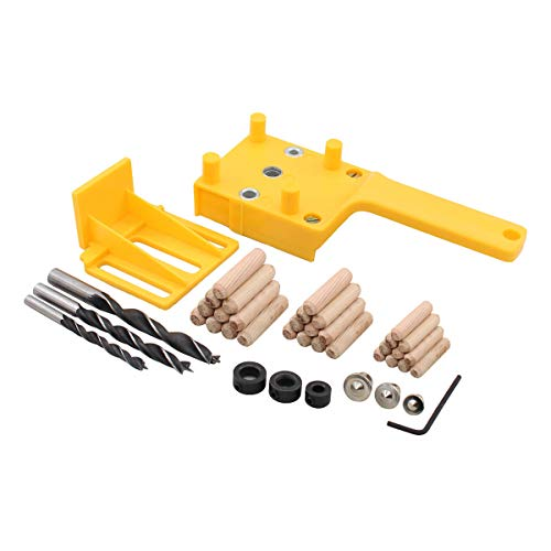 ApplianPar Woodworking Dowel Jig Doweling Hole Saw Tools Handheld Jigs for 14 516 38 Inch Drill Guide Metal Sleeve with Wood Dowel Points Center Pins Drill Bit
