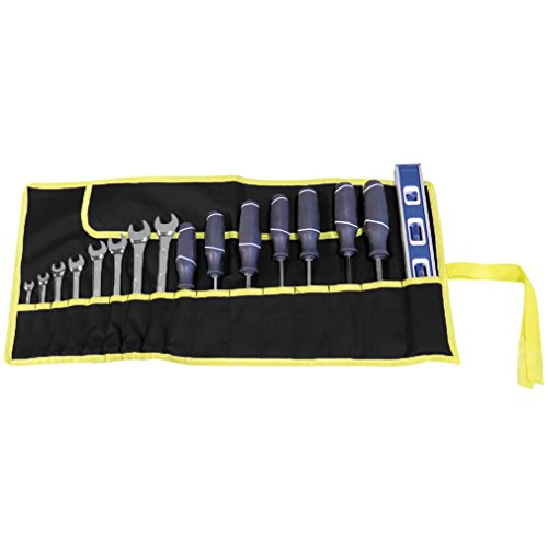Evelots 16 Pocket Canvas Tool Storage Roll Black and Yellow