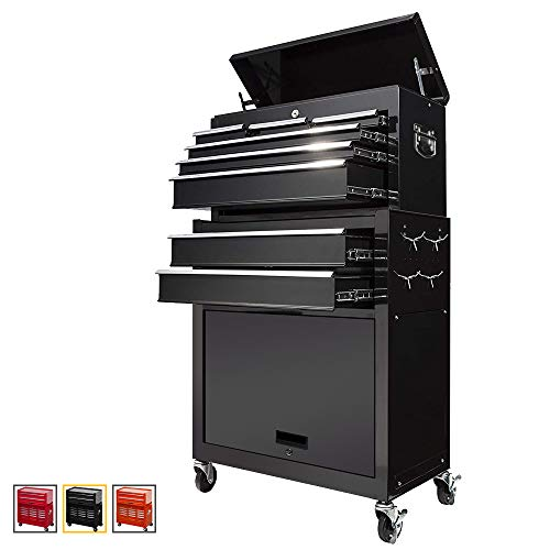 Large Capacity Rolling Tool ChestDetachable Tool CabinetRemovable Tool Storage Cabinet With 8 Sliding DrawersLockable System Toolbox OrganizerBlack