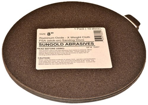 Sungold Abrasives 336039 40 Grit 6 X -Weight Cloth Premium Industrial Aluminum Oxide Psa Stick-On Sanding Discs For Stationary Sanders 10 Sanding DiscsPack