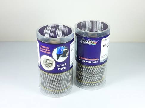 NailPro 1-14 Inch by 0093 - 15 Degree Wire Coil - Stainless Steel - Ring Shank Siding Nail 1500 pc Stack Pack by Nail Pro