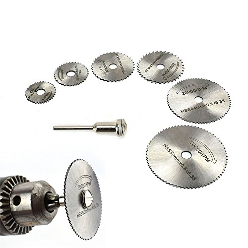Floratek 6 PCS Mini HSS Circular Saw Blade Cutting Blade Wheels Disc Set Rotary Tool Wood Cutting Discs with 6 Blades 1 Extension Rod