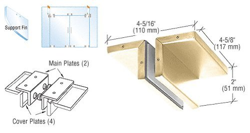 Brass Ceiling Mounted Support Fin Bracket Patch Fitting