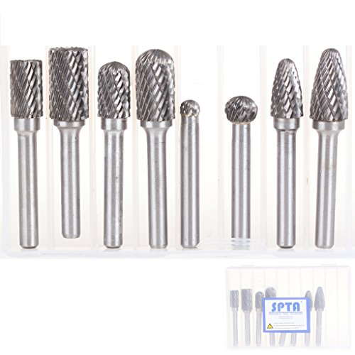 SPTA 8Pcs Double Cut Carbide Rotary Burr Set with 14-Inch 6mm Shank For Die Grinder Drill for DIY Woodworking Carving Engraving Drilling