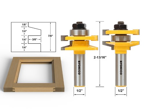 Yonico 12247 2 Bit Rail and Stile Router Bit Set with Bevel 12-Inch Shank