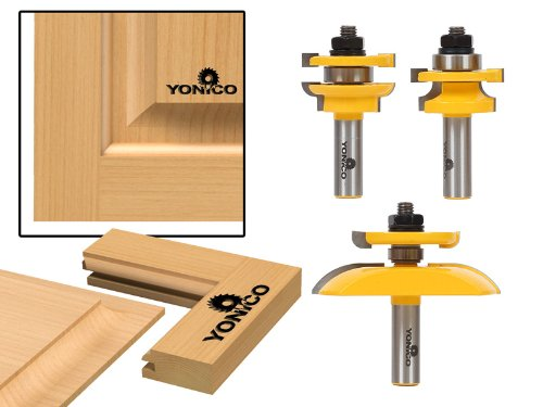 Yonico 12343 Round Over Rail and Stile with Cove Panel Raiser 3 Bit Router Bit Set 12-Inch Shank