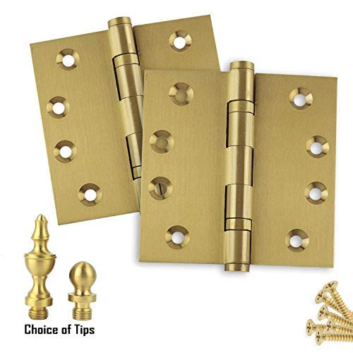 2-Pack Door Hinges 45 x 45 Architectural Solid Brass Ball Bearing Hinges Satin Brass US4 Finish Stainless Steel Pin BallUrnButton Tips Included - Set of 2 Hinges